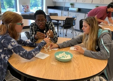 Geometry students doing STEM activity – building the tallest tower with marshmallows and toothpicks!